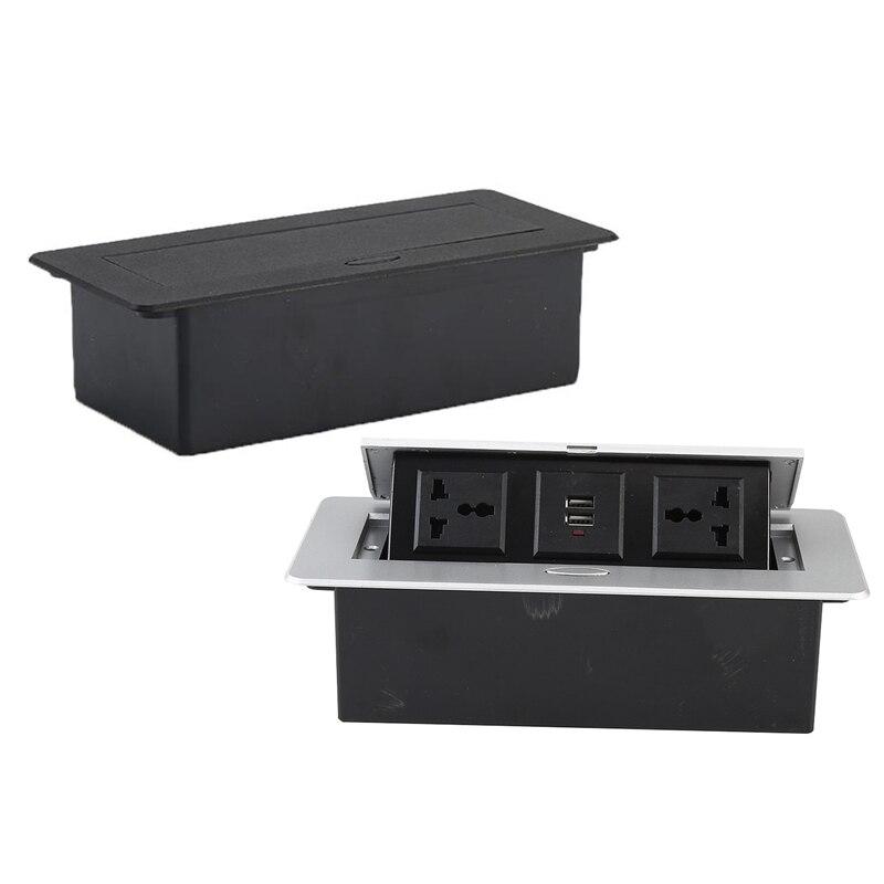 2 قطعة مقبس كهربائي غير مرئي مع اثنين من ثلاثة ثقوب التوصيل اثنين USB تمديد المقبس الاتحاد الأوروبي التوصيل ، الأسود والفضي