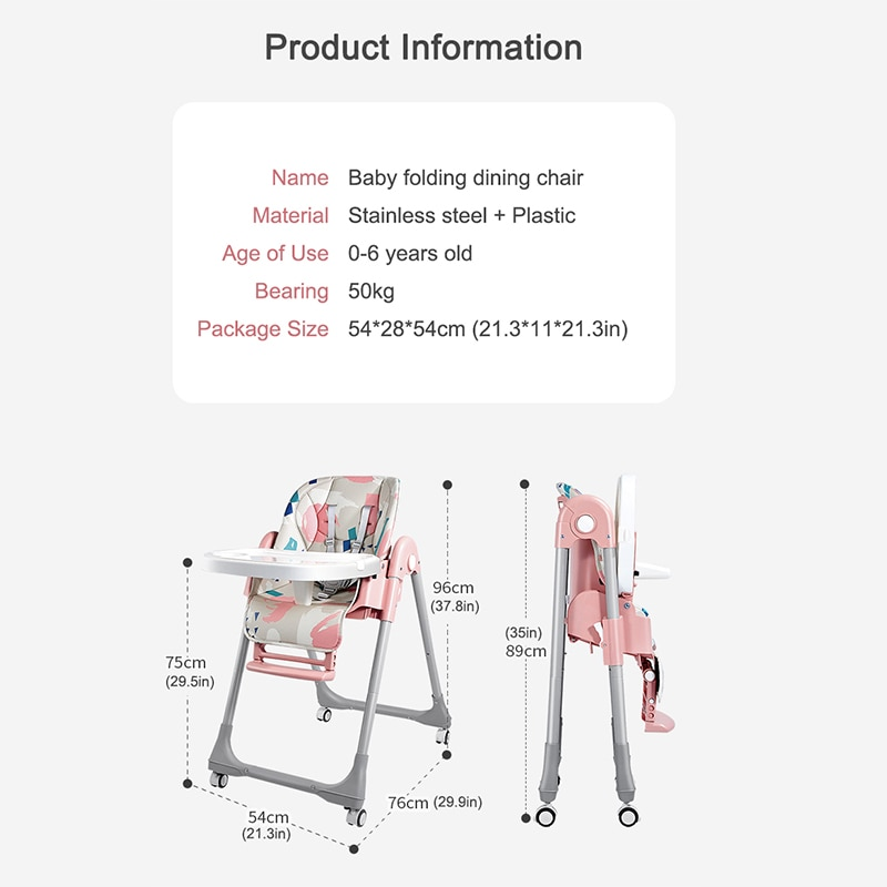 Babyinner Adjustable Baby Dining Chair Folding Booster Seat Portable Multi-function Safety Belt Feeding Lunch Chair with Wheels enlarge