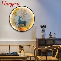 hongcui led wall lights modern sika deer figure sconces round lamp creative for home teahouse