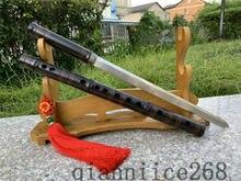 1095 HIGH CARBON STEEL HANDMADE JAPANESE Flute SWORD BLACK SAYA