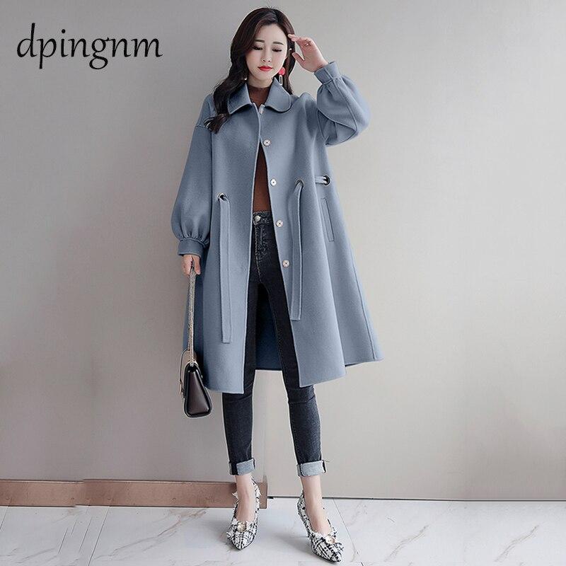 Ladies medium long korean style wool coat new 2019 spring autumn turndown collar black outerwear women slim coats abrigo mujer