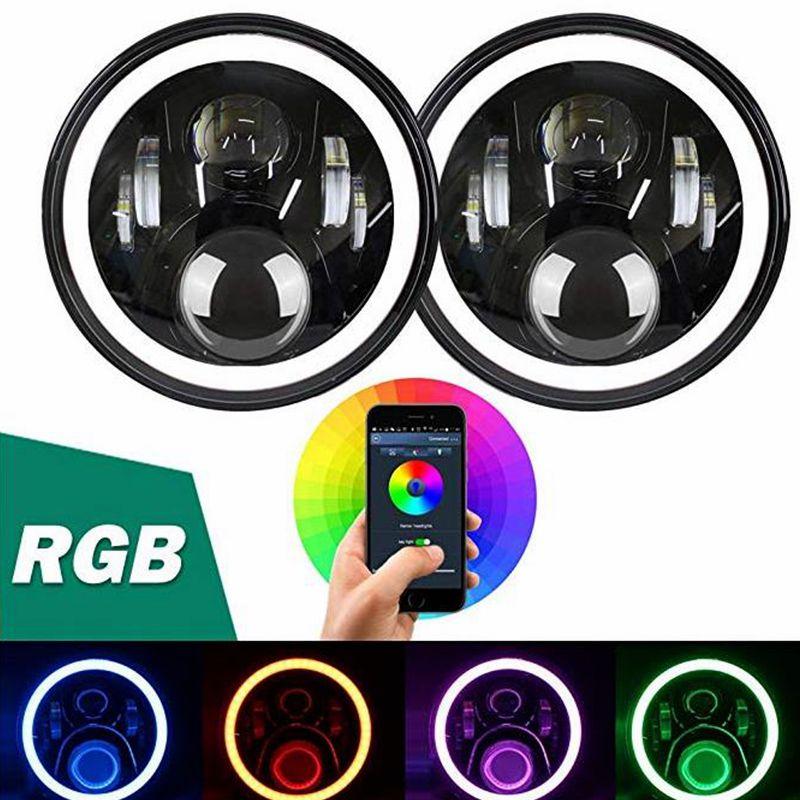 Phares à télécommande Bluetooth 7 pouces   Lampes frontales avec ange yeux RGB multicolores DRL pour Jeep Music Mode 50W Hi/Lo faisceau