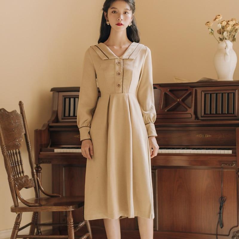 Japonais Mori fille printemps automne longue robe abricot longue Vestidos femmes à manches longues Vintage élégant Midi robes Kawaii vêtements