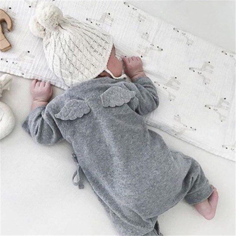Recién Nacido bebé niño niña algodón mameluco mono niños niñas alas de Ángel manga larga mamelucos blanco gris otoño ropa traje