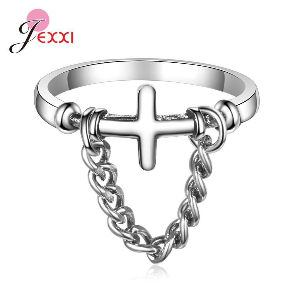 Настоящее серебро 925 пробы, стильное модное регулируемое кольцо в форме Креста для девочек, женские вечерние подарки по оптовым ценам