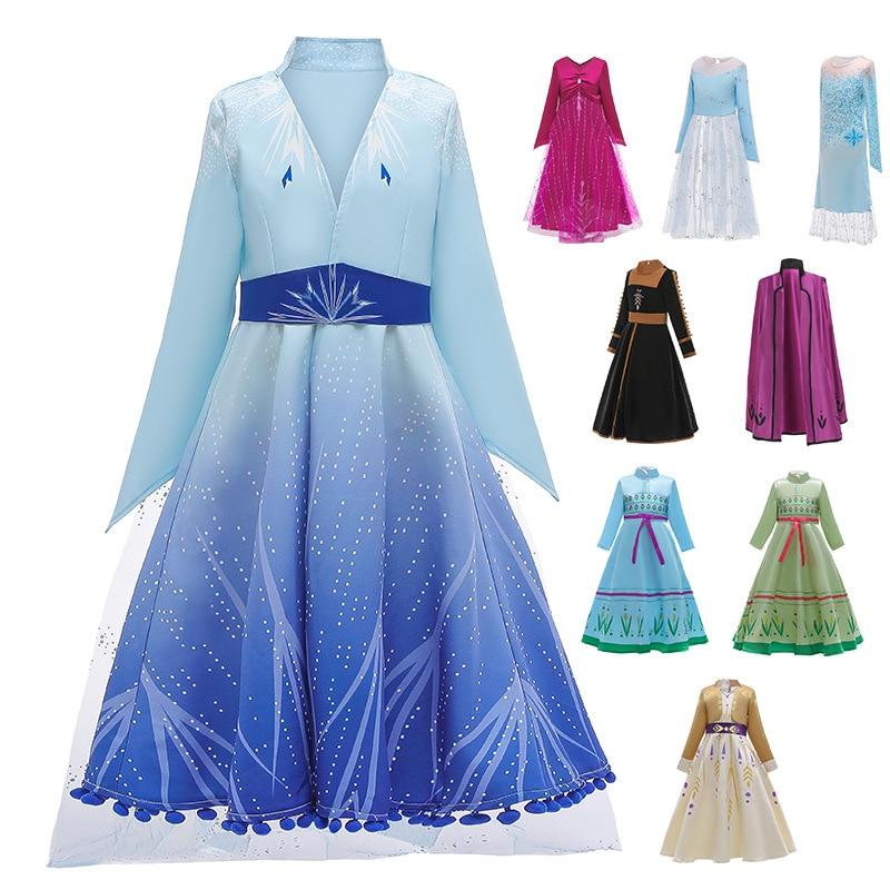 Vestido de princesa frozen anna elsa 2, conjunto feminino princesa para fantasia de natal e festa de aniversário 2020