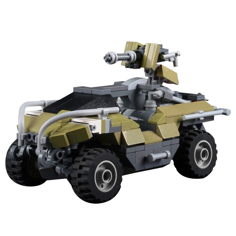 MOC Warthog Mini Vehicle Model Movie HALO Building Blocks Military Series Battle Car DIY Assembly Compatible Toy Childrens Gift