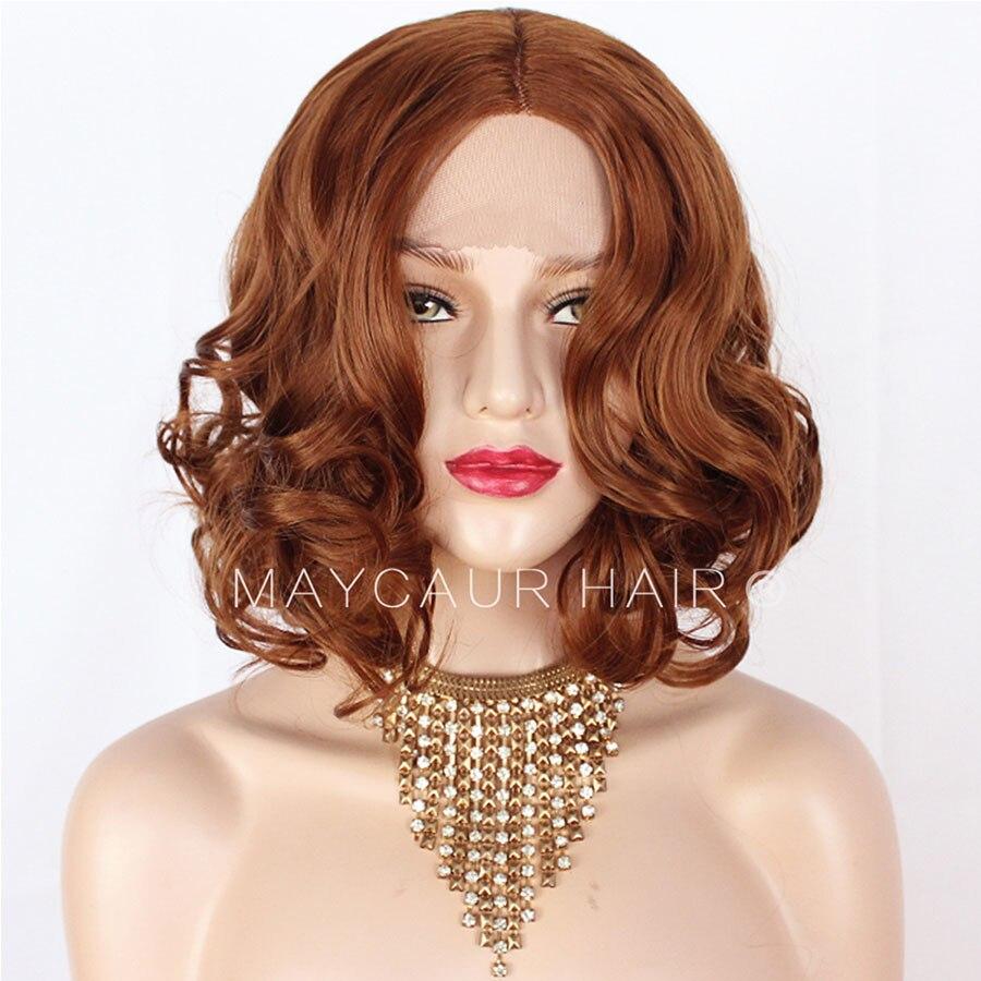 Maycaur-شعر مستعار صناعي مموج قصير ، شعر مموج ، أحمر ، برتقالي ، زنجبيل ، للنساء الأفريقيات
