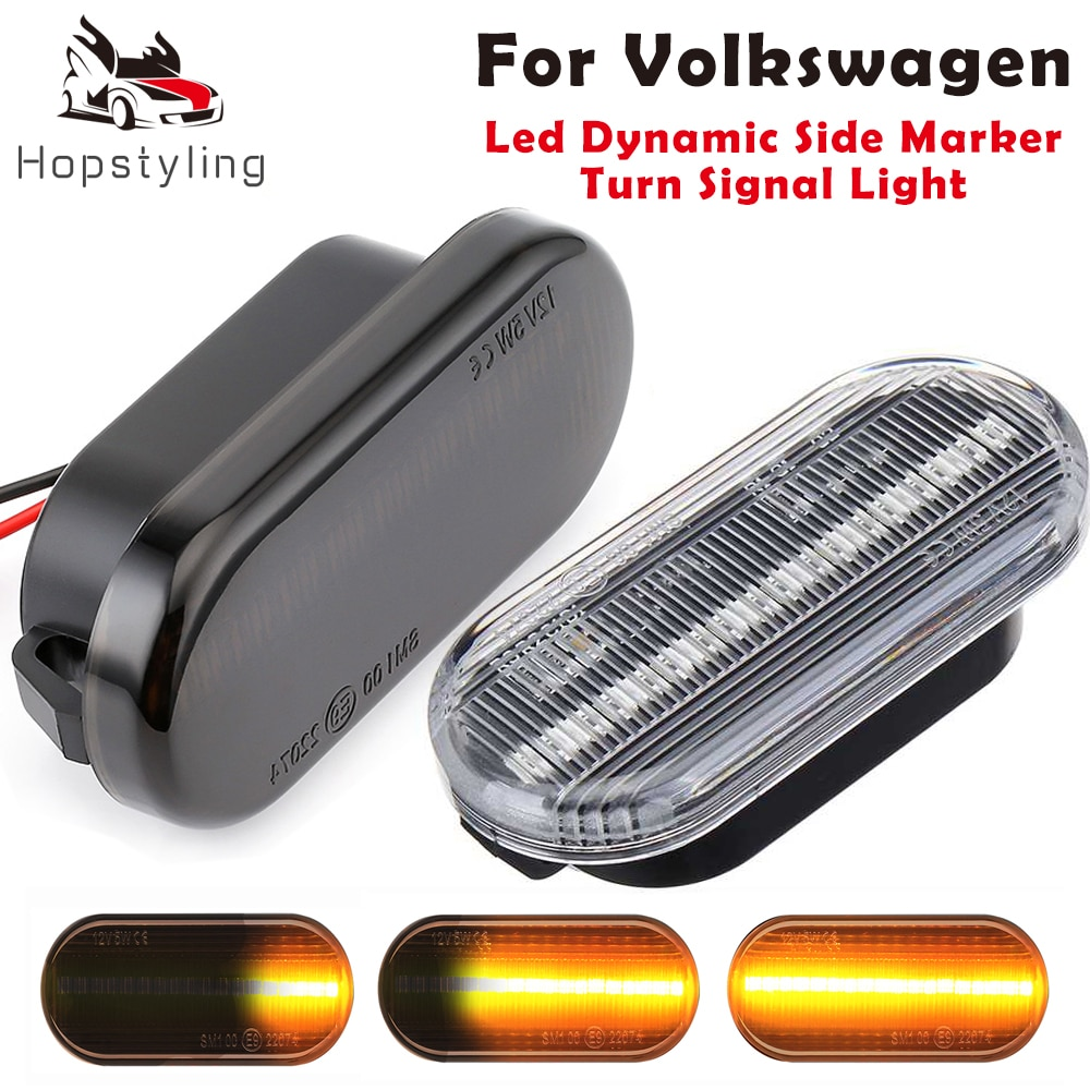 Luz de sinal de seta com led dinâmica, lâmpada sequencial para vw t5 caddy golf 3 4 passat amarok up polo fox beetle lupo