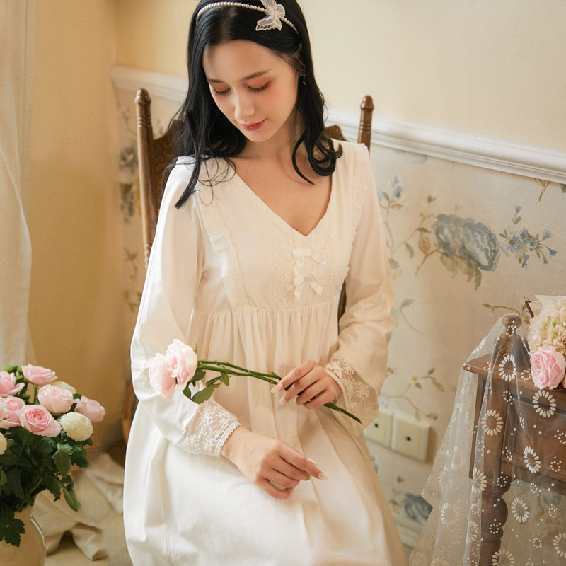 Herbst Damen Gerade Nachthemd Lange hülse Rüsche V-ausschnitt Bestickt Nachthemd Sleepdress Retro Hohe Taille Casual Nachtwäsche
