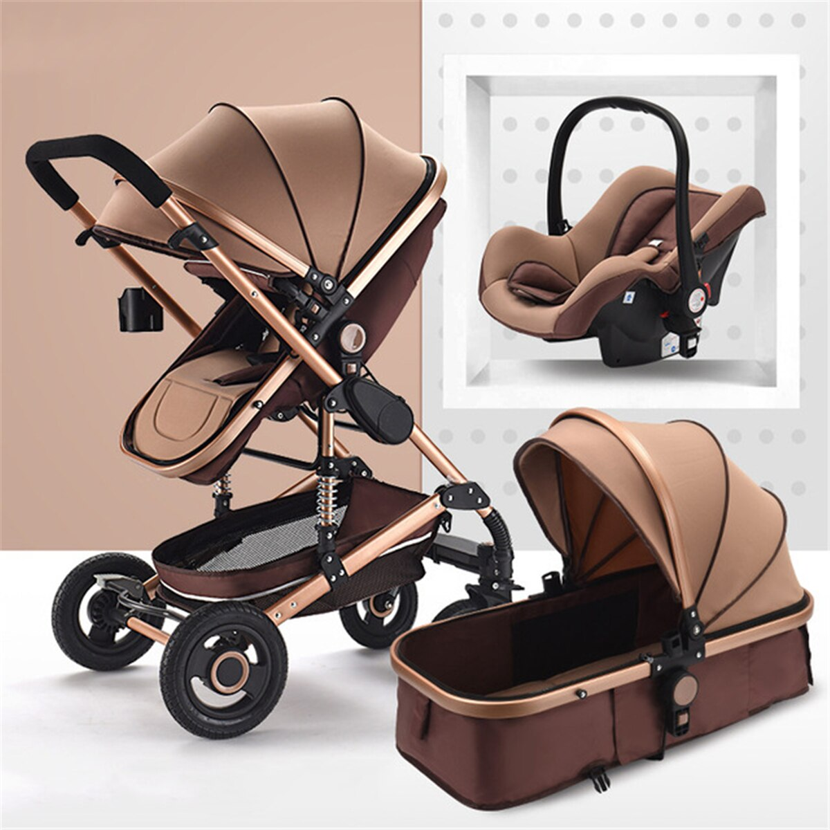 New Luxury Baby Stroller 3 in 1 Portable Travel Baby Carriage Folding Prams Aluminum Frame High Landscape Car for Newborn Baby