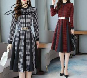 2020 spring and autumn new round neck long sleeve hit color houndstooth temperament slim dress M-3XL