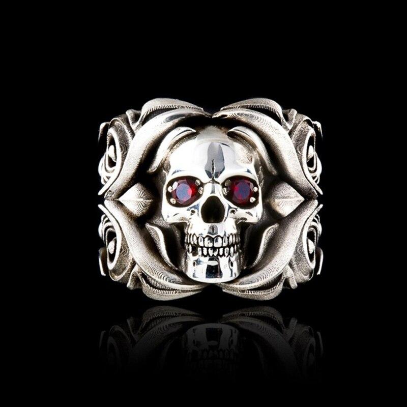 Массивное кольцо на палец в виде головы скелета с красным драгоценным камнем мужское кольцо в стиле панк с узором в виде Розы резное серебря...