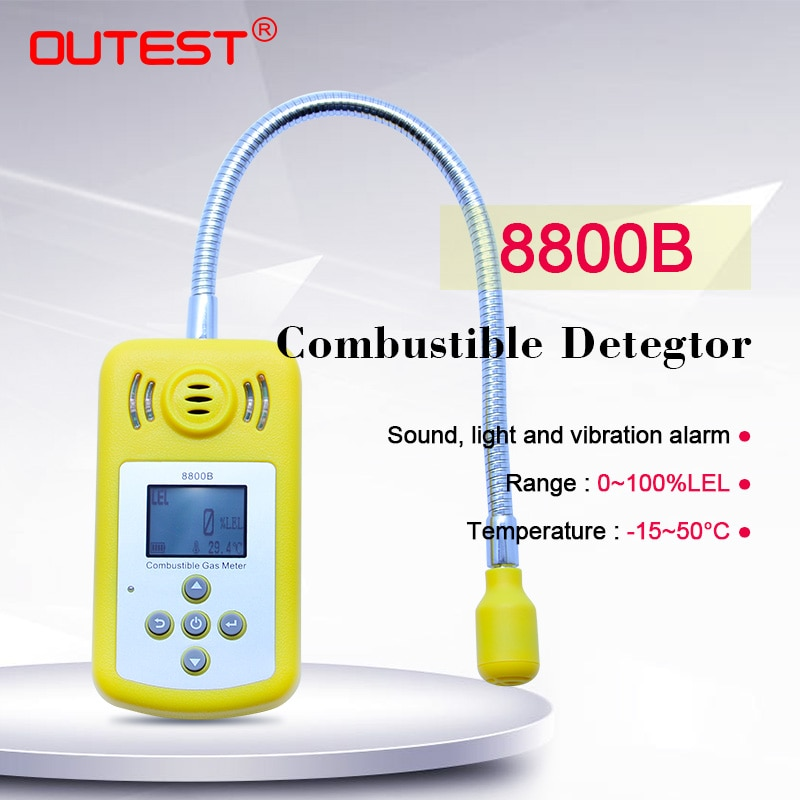 Detector de gas Combustible, puerto de salida, Detector de fuga de gas natural inflamable, medidor de localización, medidor de medición, alarma de luz de sonido