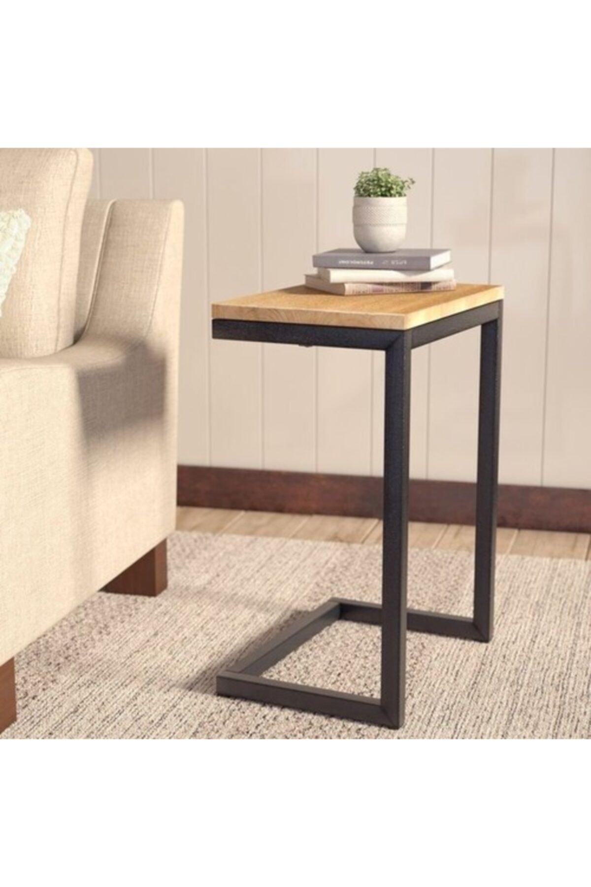 Dekoratif Metal Ahşap Yan Sehpa C Tipi Sehpa Zigon Sehpa  Oturma Odası Moda Dekor modern ahşap kahverengi sehpa kahve sehpası çay sehpası meyve masası kanepe yanı oturma odası için mobilya sehpa
