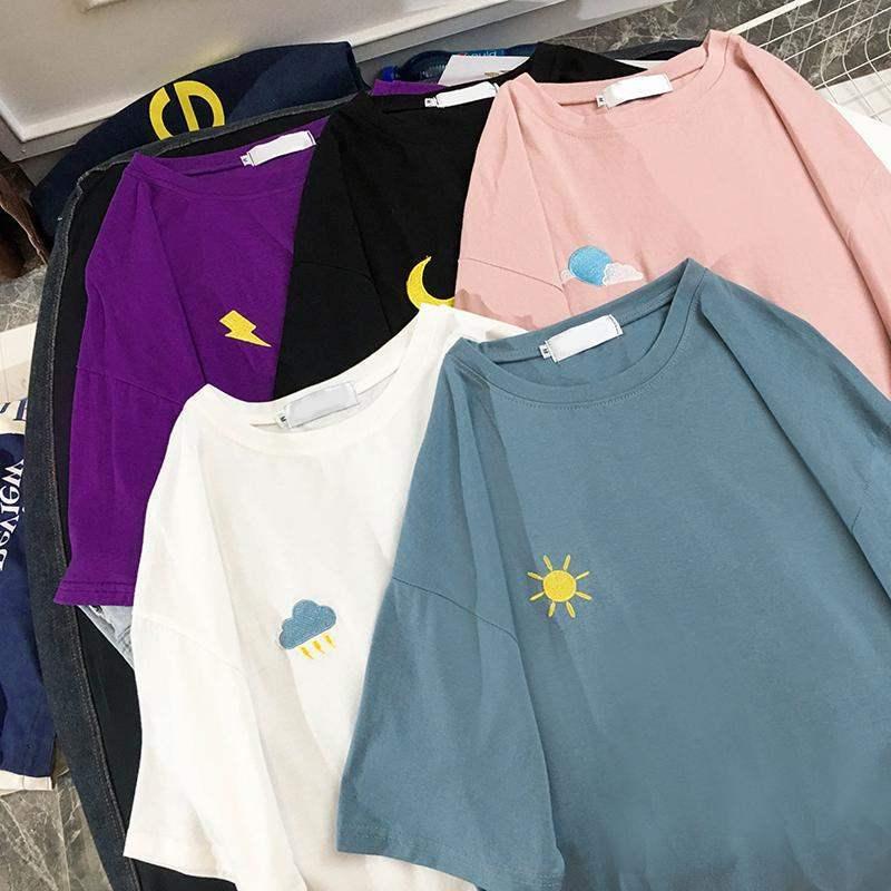 AliExpress - Vintage girl loose cartoon embroidery strange taste girl short-sleeved t-shirt female 2021 weather ins tide clothing women