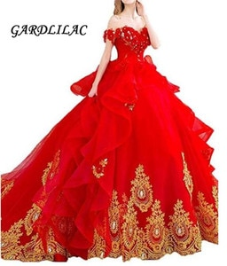 Off The Shoulder Red Quinceanera Dresses Ball Gown Gold Appliques Bridal Dress For Wedding Prom Formal Gown Dress