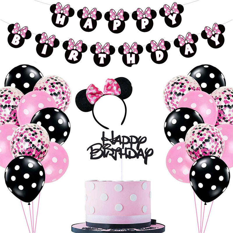 Disney Minnie mouse party  Supplies Decorations Balloons paper banner diy decor Girls favor 1st Birthday