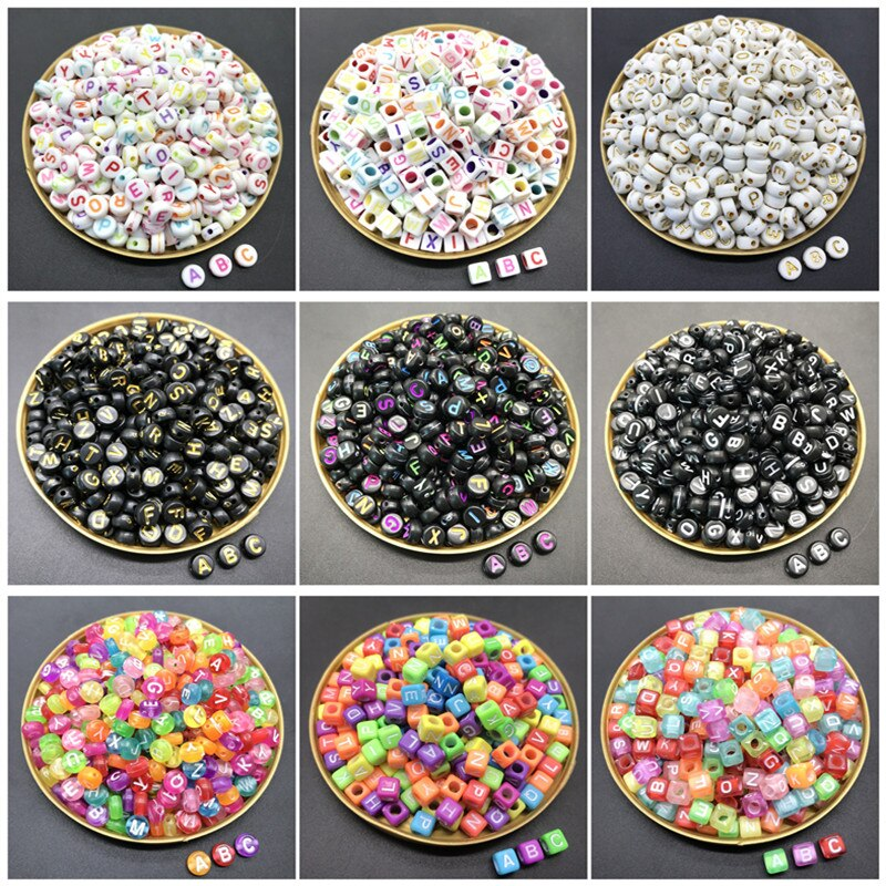 AliExpress - 100pcs/lot 6mm/4x7mmAcrylic Spacer Beads Letter Beads Square Oval Alphabet Beads For Jewelry Making DIY Handmade Accessories