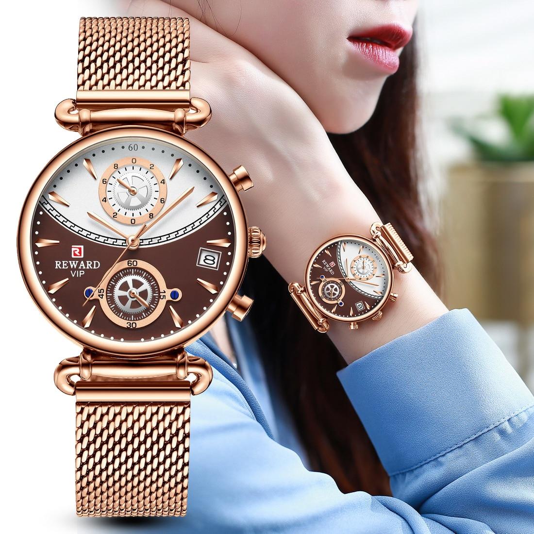 REWARD Women Watches  Business Quartz Watch Ladies Fashion Rose Gold Female Clock Stainless Steel Wa