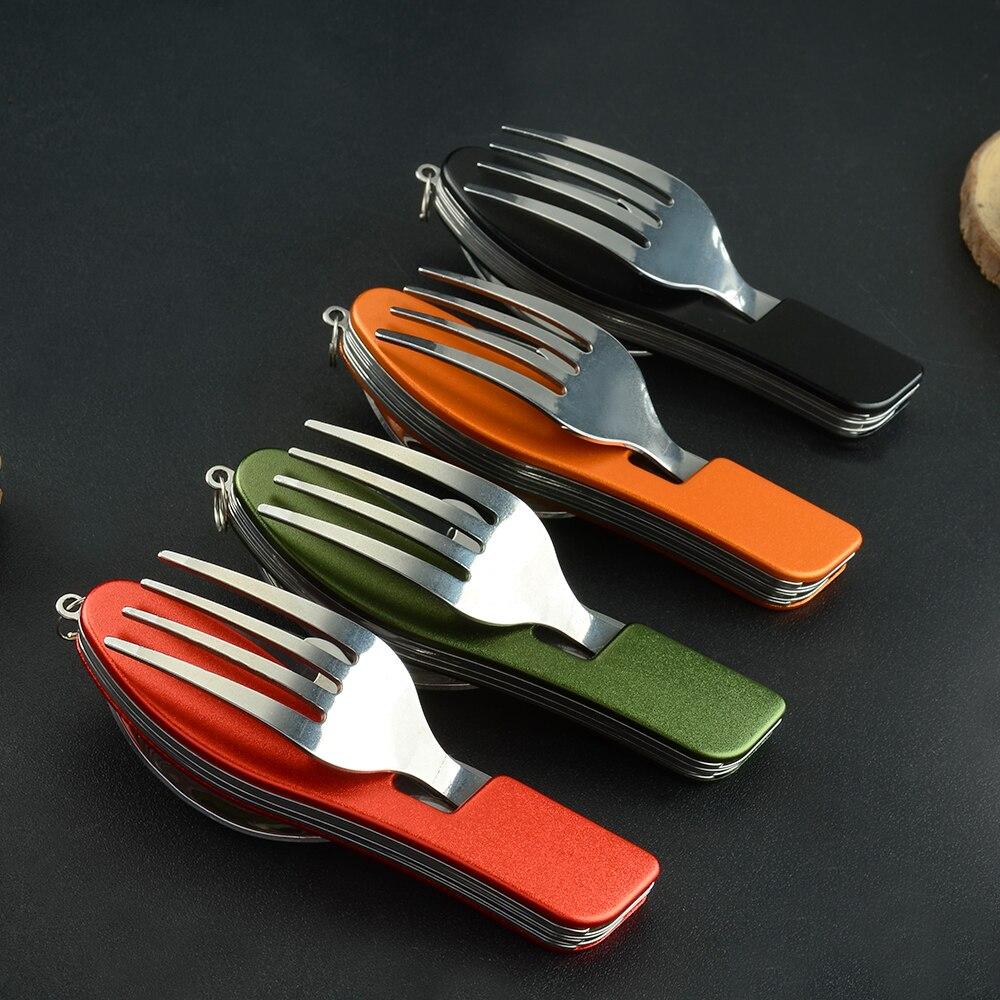 Exterior 4 en 1 viaje Camping cubiertos cuchillo tenedor cuchara abridor multifunción vajilla de acero inoxidable plegable Kits para senderismo