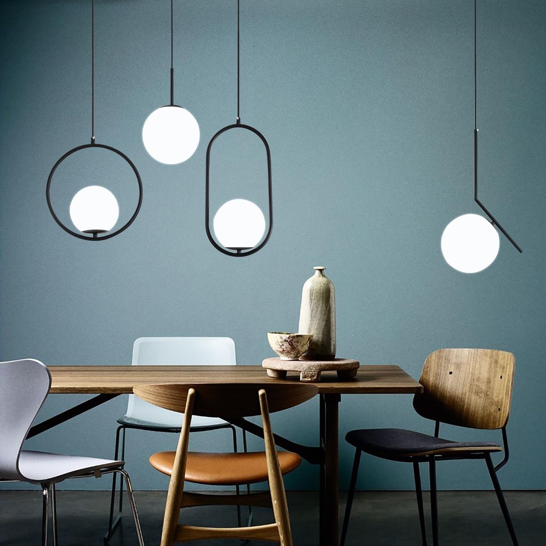 Nordic Glass Ball Pendant Lights Modern LED Hanging Lamp for Living Room Brass/Black/Chrome
