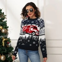 christmas red long sleeve women casual sweater autumn winter truck design female pullover fashion knitted sweater tops