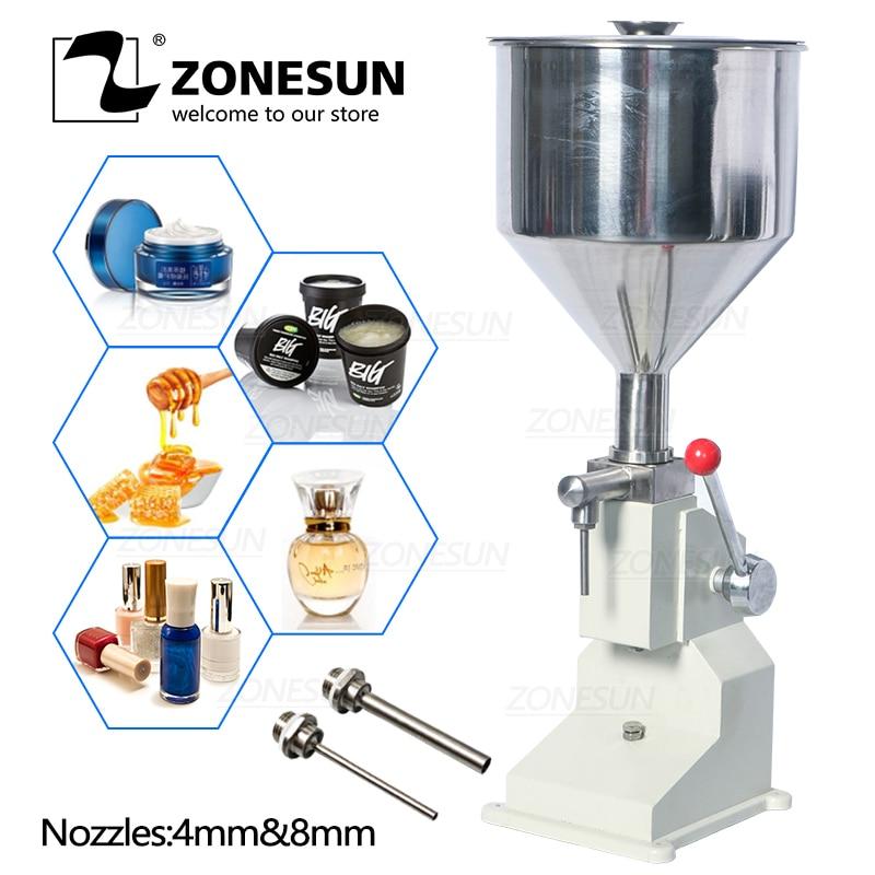 ZONESUN Manual Food Filling Machine Nail Polish Cosmetic Cream Honey Liquid Paste Packaging Equipment Shampoo Juice Filler