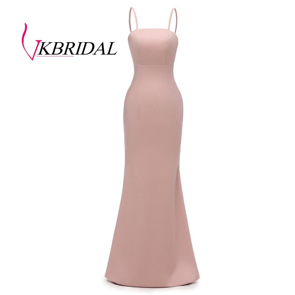 VKBRIDAL Sexy Spaghetti correas vestidos de dama de honor largos 2019 fotos reales sirena vestidos de graduación