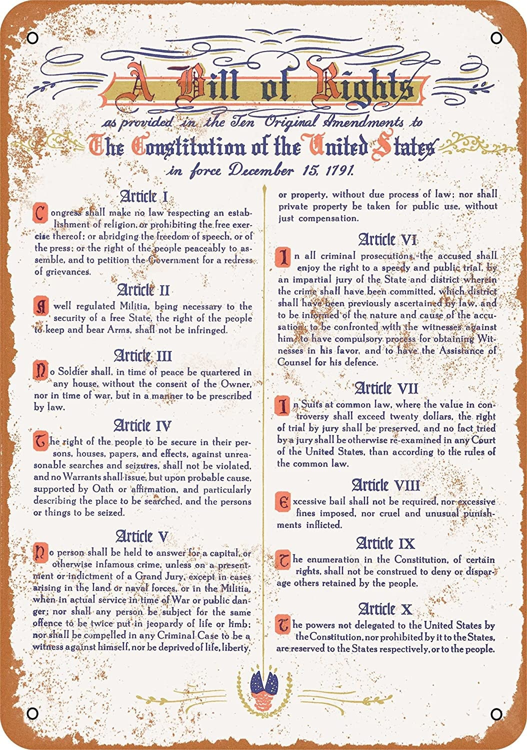 WallColor 9 x 12 Metal Sign 1791 United States Bill of Rights Vintage Look