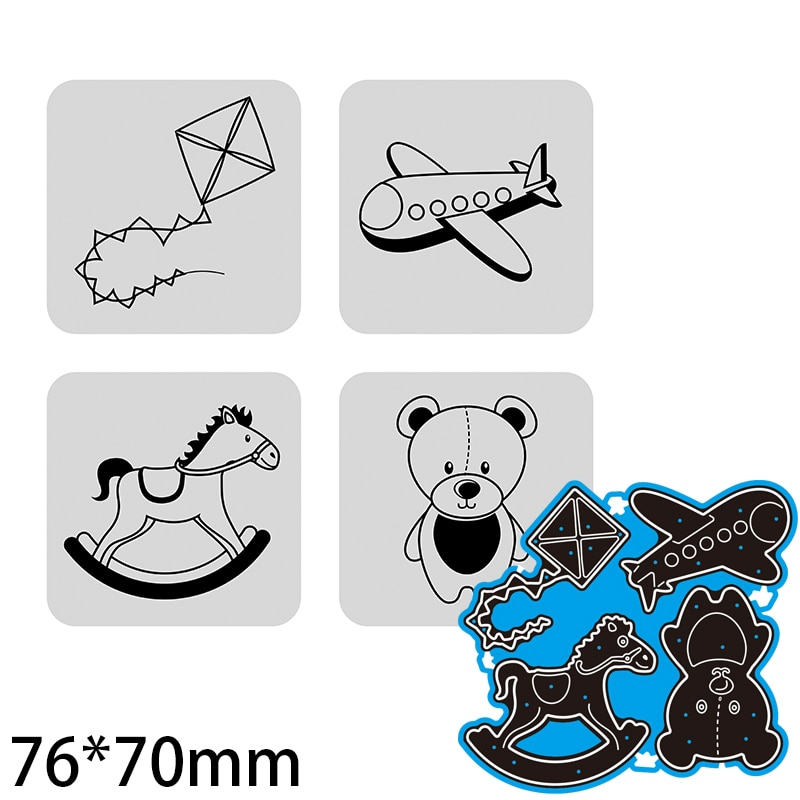 76*70mm Teddy Bear Trojan Kite Airplane Decoration Cutting Dies DIY Scrap Booking Photo Album Embossing Paper Cards