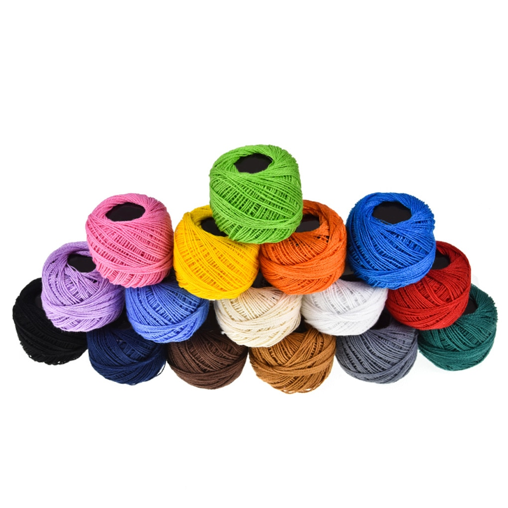Crochet Cotton Yarn Balls 16 Colors Cross Stitch Needlepoint Hand Embroidery Knitting Threads