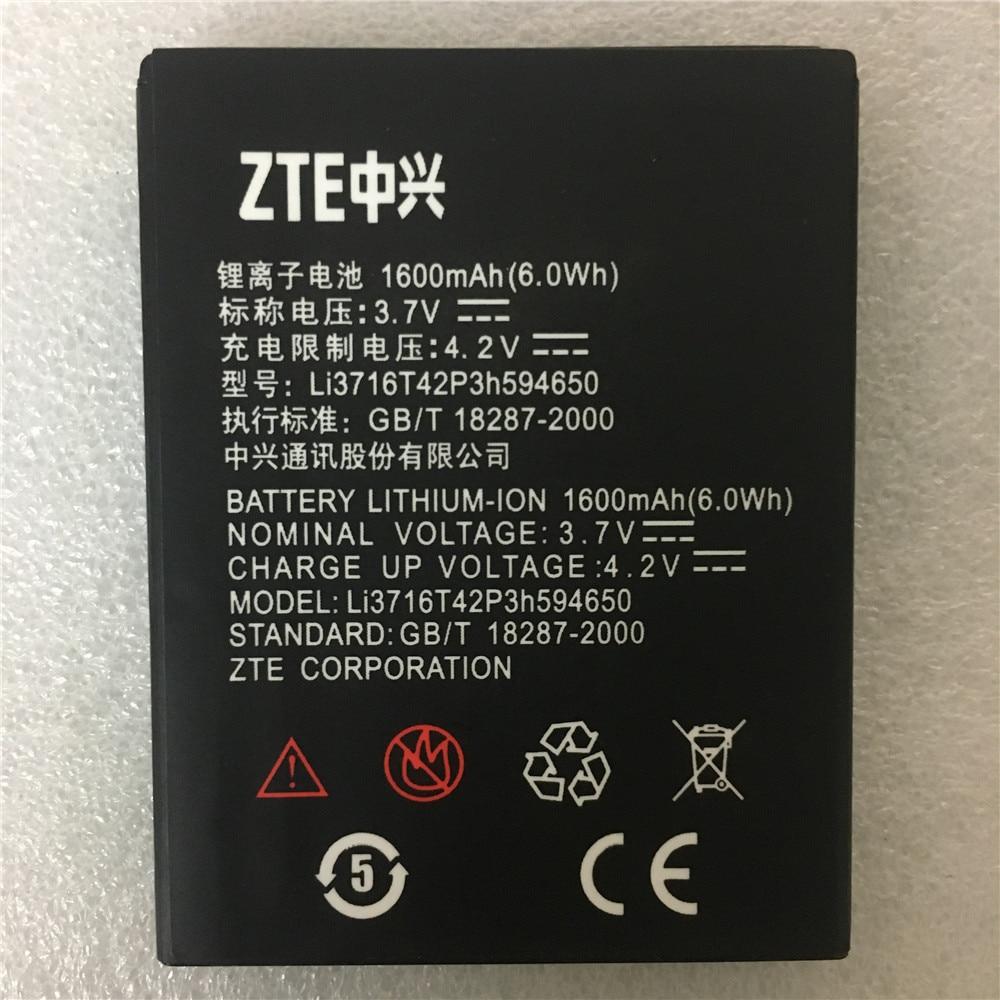 Batería 1650mAh Li3716T42P3h594650 Original de gran capacidad 2017 para ZTE V889S V889M U970 U807 V807 N807 V930 U930 N970 V970 U795