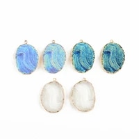 2 pcs jewelry making ore marble texture pendant diy resin imitation handmade bracelet necklace earrings hair accessories