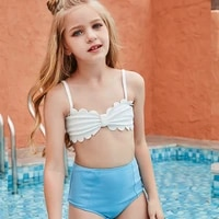 summer swimming wading sports hot spring blue and white shell tops childrens swimsuit split bikini cute style