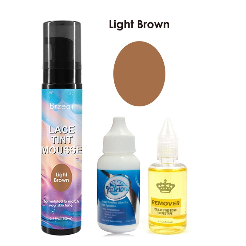 100ml Medium Brown Lace Tint Mousse +1.3oz/38ML Lace Wig Hair Bonding Glue +30ML Remover for Lace wig Frontal Closure