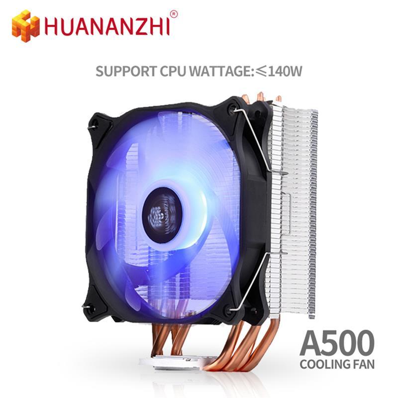 HUANANZHI-مروحة تبريد LED لوحدة المعالجة المركزية ، أنبوب تسخين نحاسي ، A500 LGA 2/4 ، مروحة صامتة فردية/مزدوجة