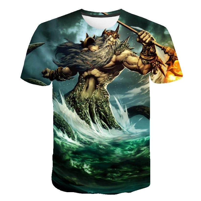 Мужская рубашка с 3d принтом, Мужская футболка, аниме производство, мультфильм Посейдон, косплей, футболка, летняя рубашка с коротким рукавом...