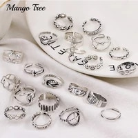 50pcslot vintage silvery hollow rings collocation mixed flower smiling face lettering adjustable opening finger ring for women