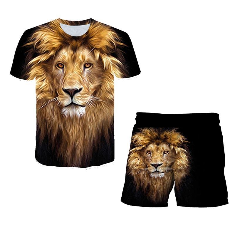 3D printed Lion King T-shirt Boy Summer Lion Short-sleeved Shorts Sets Children's Animation Shorts Set teens Clothes Sets 4-14T