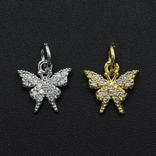 13x10mm 100% CZ Zircon DIY Jewelry Butterfly Charm Pendant Wholesale Necklace Making Charms Jeweller