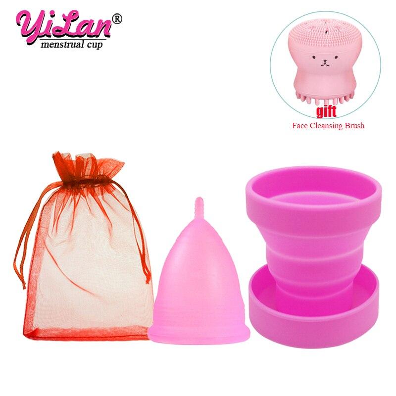 Silicone médico copo menstrual & copo dobrável higiene feminina período menstrual reutilizável vaginal copos presente rosto escova de limpeza