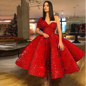Middle East Red Sequin One Shoulder Evening Dresses 2021 Tea-Length Dubai Prom Party Gowns платье на выпускной Sexy Vestidos