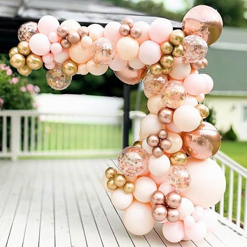 96 шт. Morandi персиковые воздушные шары, гирлянда, желтые, хромированные, розовые, золотые, 4D воздушные шары для детского праздника, свадьбы, дня ...