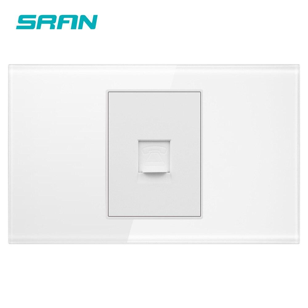 Soquete do telefone de sran, painel de vidro de cristal branco da pérola 118mm * 72mm, tomada de alimentação da relação do tel rj11 da parede