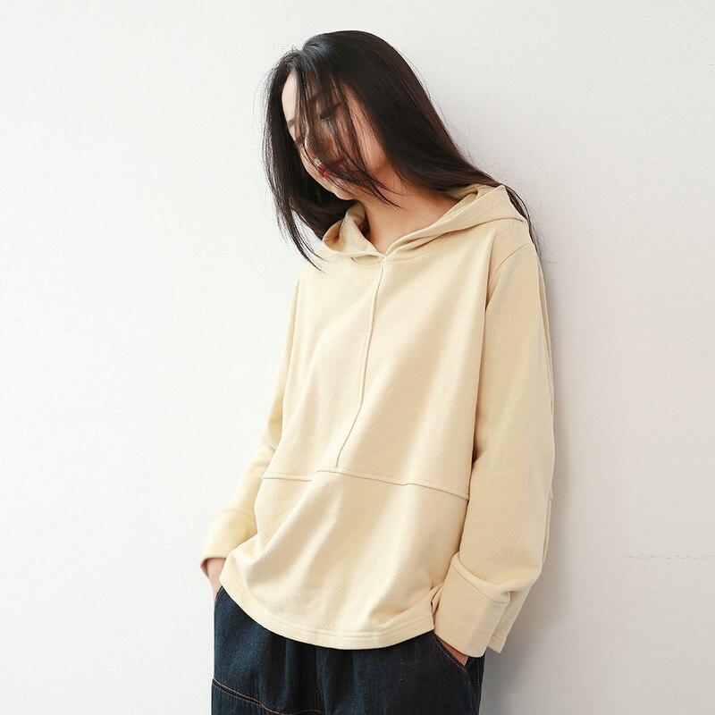 ¡Novedad de 2020! Sudadera con capucha para mujer, sudadera holgada de Color sólido con capucha para otoño e invierno, sudaderas de moda coreana para mujer.