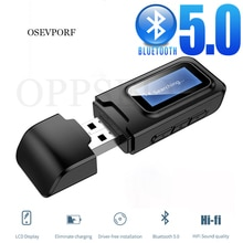 USB Bluetooth 5.0 Dongle Audio Receiver Transmitter With LCD Display 3.5MM AUX Stereo Wireless Adapt