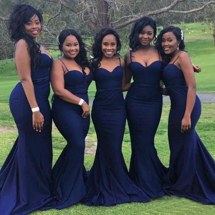 Navy Blue Sexy Bridesmaid Dresses 2020 African Spaghetti Straps Sweetheart Neck Wedding Guest Party Prom
