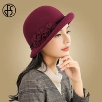 fs vintage winter hats for women fedora hat black wide brim wool hats flower elegant lady autumn church bowler cloche caps