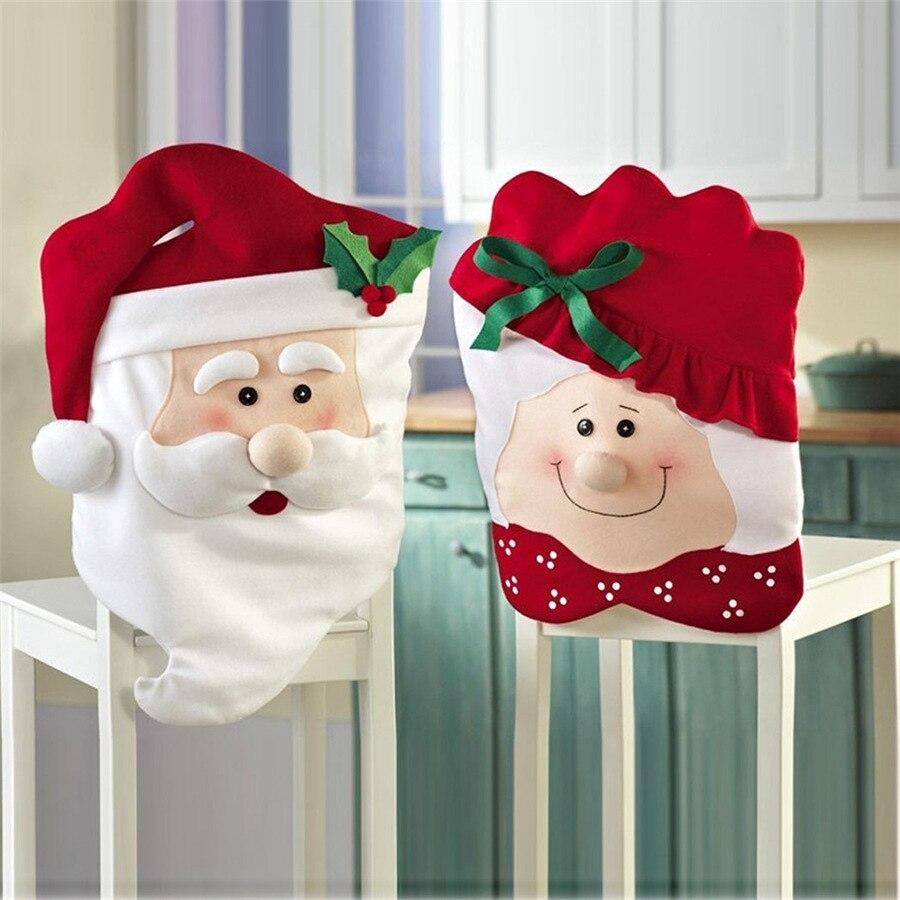 Funda de silla de Navidad adornos antiguo abuelo abuela Silla de comedor abrigo accesorios de Año Nuevo